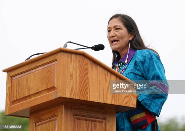 Secretary of the Interior Deb Haaland delivers remarks at an event commemorating the delivery of the Red Road Totem Pole to the Biden Administration...