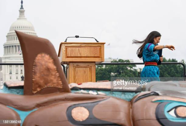 Secretary of the Interior Deb Haaland departs the stage after delivering remarks at an event commemorating the delivery of the Red Road Totem Pole to...