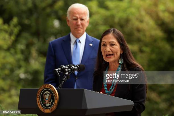 Secretary of the Interior Deb Haaland introduces President Joe Biden before he announces the expansion of areas of three national monuments at the...
