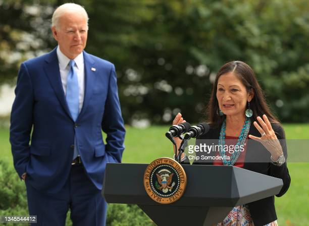 Secretary of the Interior Deb Haaland introduces President Joe Biden to announce the expansion of areas of three national monuments at the White...