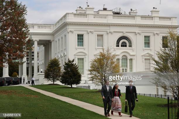 Secretary of the Interior Deb Haaland leaves the White House after President Joe Biden signed proclamations expanding the areas of three national...