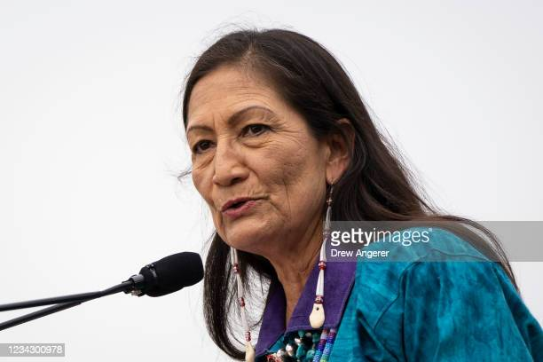 Secretary of the Interior Deb Haaland speaks during a welcome ceremony for a totem pole carved by the House of Tears Carvers of the Lummi Nation, on...
