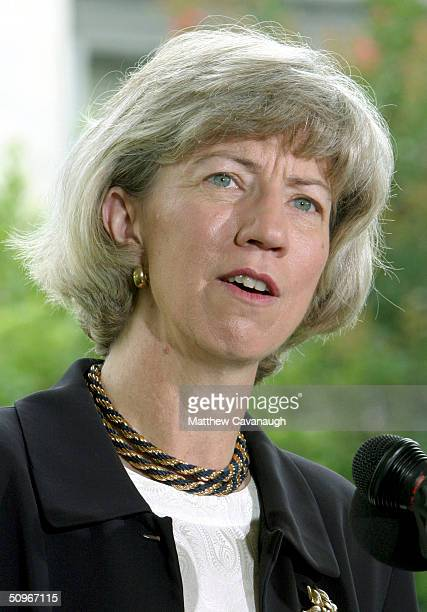 S Secretary of the Interior Gale Norton speaks at a press conference announcing the launch of the new Escape Hybrid SUV outside the Department of the...