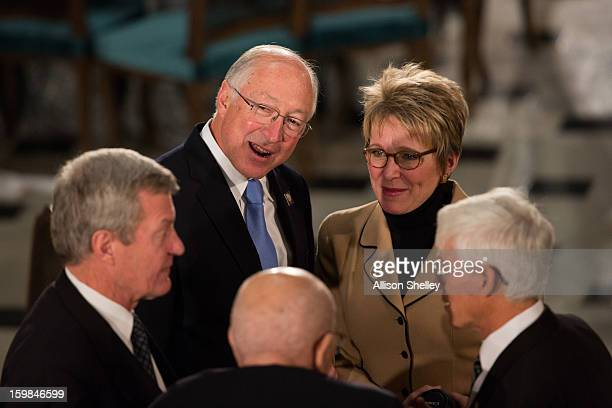 S Secretary of the Interior Ken Salazar 2nd L mingles at the Inaugural Luncheon in Statuary Hall on inauguration day at the US Capitol building...