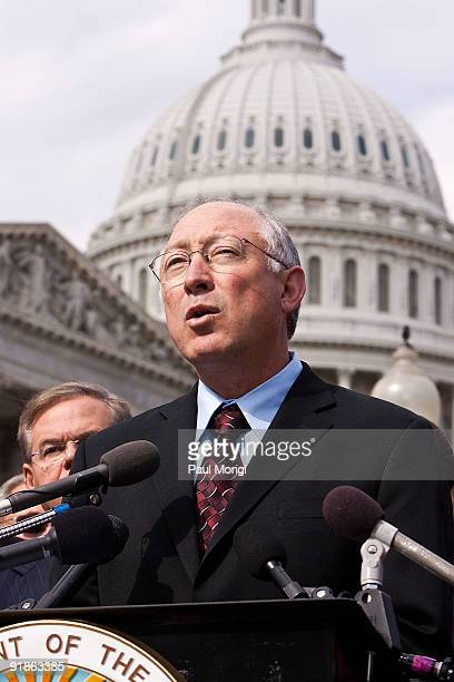Secretary of the Interior Ken Salazar makes a few remarks at a National Museum of the American Latino Commission press conference at the House...