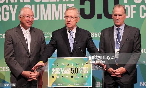 Secretary of the Interior Ken Salazar Senate Majority Leader Harry Reid and Pattern Energy's Mike Garland attend a news conference during the...