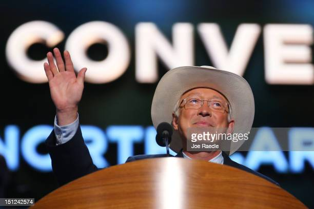 Secretary of the Interior Ken Salazar takes the stage during day one of the Democratic National Convention at Time Warner Cable Arena on September 4...