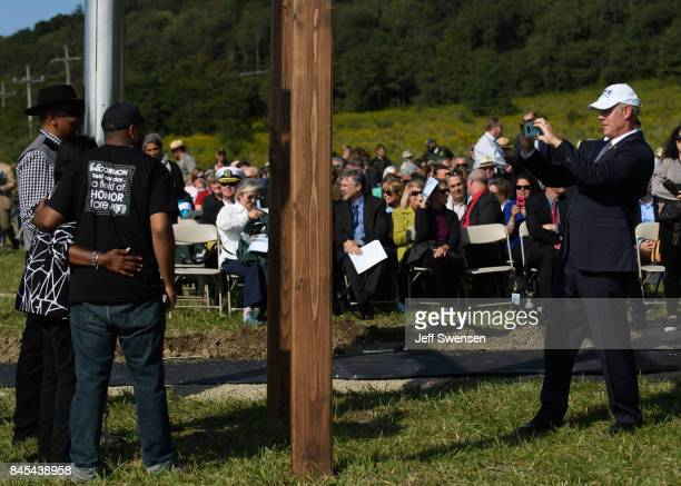 Secretary of the Interior Ryan Zinke meets with victim's family members at the groundbreaking of the Tower Of Voices at the Flight 93 National...