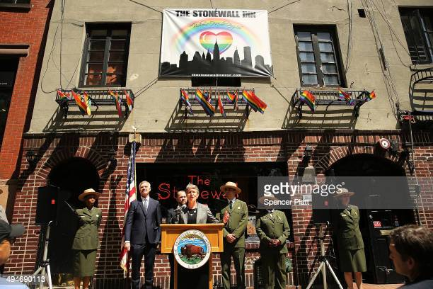 Secretary of the Interior Sally Jewell speaks to the media in front of The Stonewall Inn announcing a new National Park Service initiative intended...