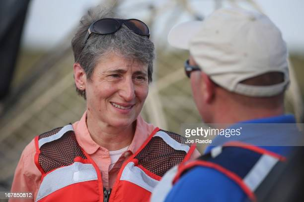 Secretary of the Interior Sally Jewell speaks with Larry Willliams the US Fish and Wildlife Service's field supervisor for its South Florida...
