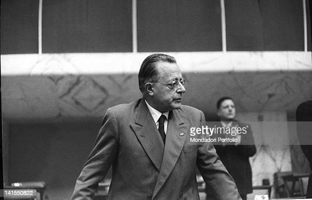 Secretary of the Italian Communist Party Palmiro Togliatti opening the party congress Rome December 1956