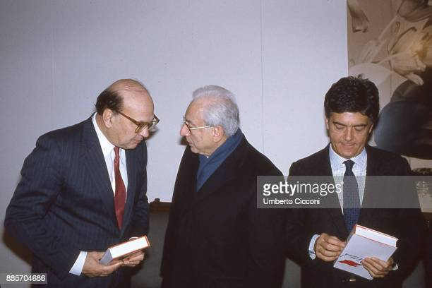 Secretary of the Italian Socialist Party Bettino Craxi is at the Italian Socialist Party headquarters with President of Italy Francesco Cossiga and...