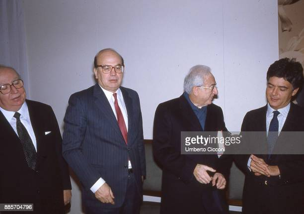 Secretary of the Italian Socialist Party Bettino Craxi is at the Italian Socialist Party headquarters wih President of Italy Francesco Cossiga and...