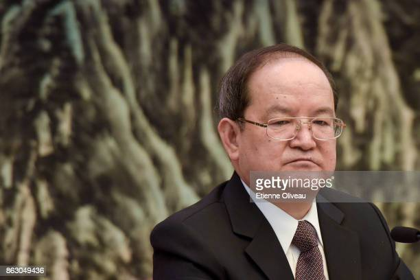 Secretary of the Jiangxi CPC Provincial Committee Lu Xinshe attends a meeting of the 19th Communist Party Congress at the Great Hall of the People on...
