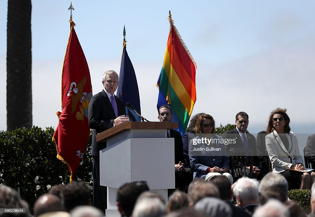 U.S. secretary of the Navy Ray Mabus speaks during a ship naming ceremony for the new USNS Harvey Milk on August 16, 2016 in San Francisco, California. U.S. Navy officials announced plans to name a new replenishment oiler ship after slain civil rights leader Harvey Milk. Six new ships in the class with be named after civil and human rights leaders.