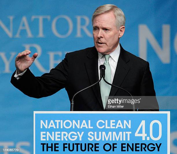 Secretary of the Navy Ray Mabus speaks during the National Clean Energy Summit 4.0 at the Aria Resort & Casino at CityCenter August 30, 2011 in Las...