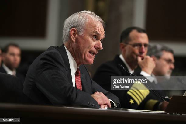 US Secretary of the Navy Richard Spencer Chief of Naval Operations Adm John Richardson and Director of Defense Force Structure and Readiness Issues...
