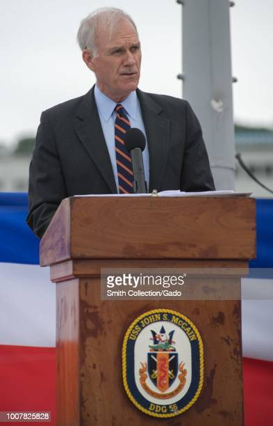 Secretary of the Navy Richard V Spencer speaks during a ceremony aboard the guidedmissile destroyer USS John S McCain July 12 2018 Image courtesy...