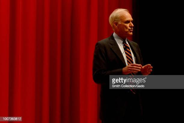 Secretary of the Navy Richard V Spencer speaks during an allhands call onboard US Fleet Activities Yokosuka Japan July 12 2018 Image courtesy Petty...