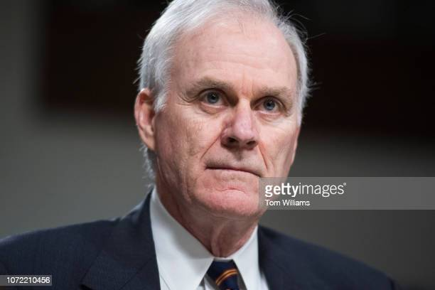 Secretary of the Navy Richard V Spencer testifies during a Senate Armed Services Subcommittee on Readiness and Management Support hearing in Dirksen...