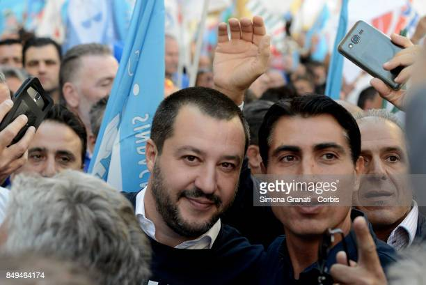 Secretary of The Northern League Matteo Salvini meets protesters from The Penitentiary Police on September 19 2017 in Rome Italy The Penitentiary...