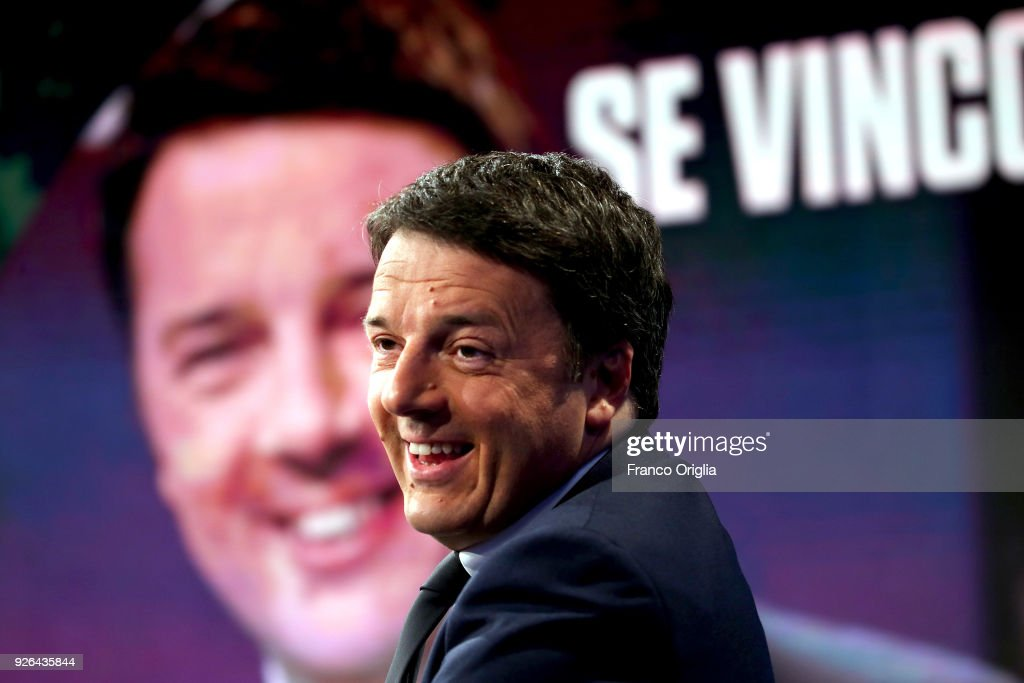Secretary of the PD (Democratic Party) and former Italian Prime Minister Matteo Renzi attends 'Porta a Porta' talk show at the RAI studios on March 2, 2018 in Rome, Italy. The Italian General Election takes place on March 4th 2018.