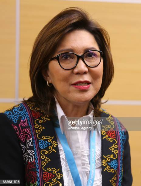 Secretary of the Philippines' Department of Tourism Wanda Corazon Tulfo Teo speaks after signing a cooperation protocol on culture and tourism issues...