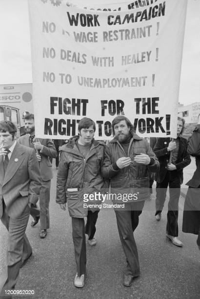 Secretary of the Right to Work campaign John Deason and Eric Tomlinson during a Right to Work demonstration May 1976