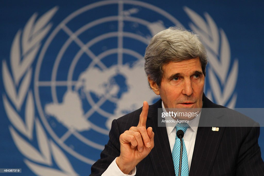 US Secretary of the State John Kerry holds a press conference within the Geneva-II peace talks in Montreux, Switzerland, on January 22, 2014.