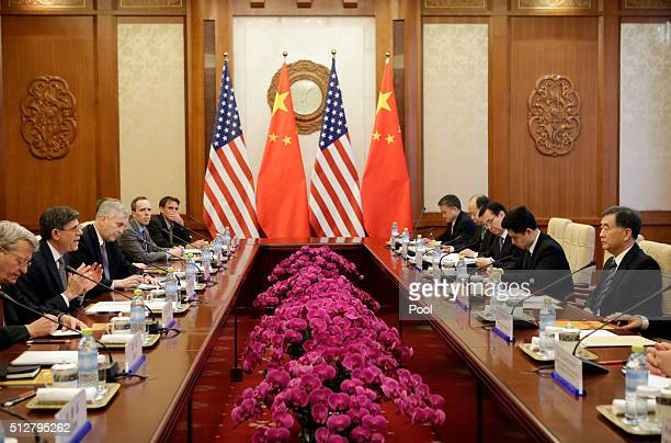 US Secretary of the Treasury Jack Lew speaks with China's Vice Premier Wang Yang during their meeting in Beijing on February 28 2016 Lew is in...