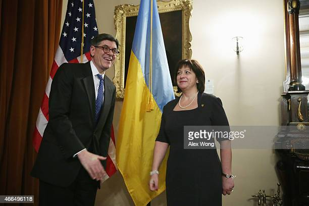 S Secretary of the Treasury Jacob Lew poses with Ukrainian Finance Minister Natalie Jaresko prior to a meeting at the Treasury Department March 16...