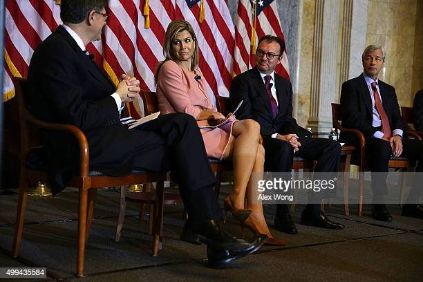 US Secretary of the Treasury Jacob Lew Queen Maxima of the Netherlands Mexican Secretary of Finance and Public Credit Luis Videgaray Caso and...