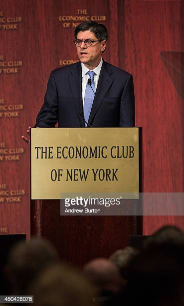 S Secretary of the Treasury Jacob Lew speaks to the Economic Club of New York on June 11 2014 in New York City Lew called for a rise in minimum wage...