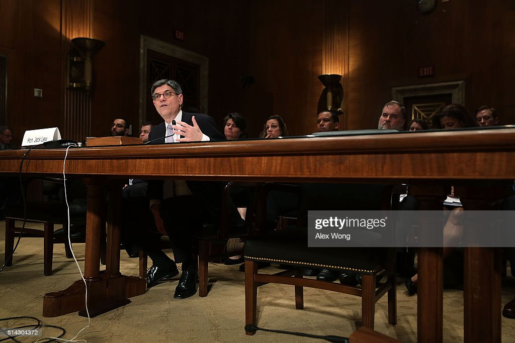 U.S. Secretary of the Treasury Jacob Lew testifies during a hearing before the Financial Services and General Government Subcommittee of the Senate Appropriations Committee March 8, 2016 on Capitol Hill in Washington, DC. The subcommittee held a hearing to examine the FY2017 budget for the Treasury Department.