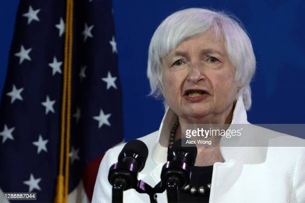 Secretary of the Treasury nominee Janet Yellen speaks during an event to name President-elect Joe Biden's economic team at the Queen Theater on...