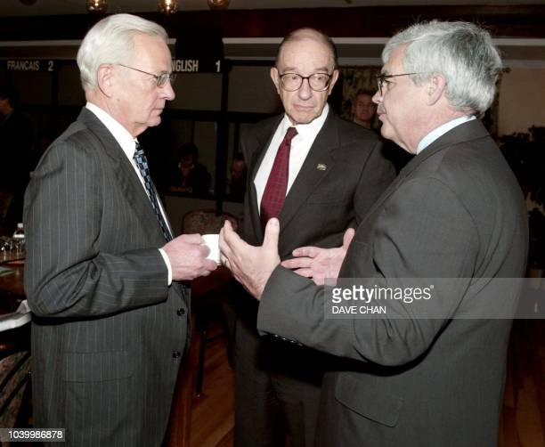 US Secretary of the Treasury Paul O'Neill Federal Reserve Chairman Alan Greenspan and Under Secretary of International Affairs John Taylor speak 09...
