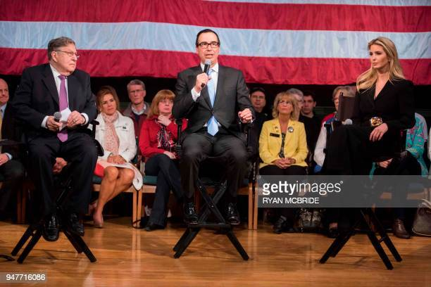 US Secretary of the Treasury Steven Mnuchin speaks at the Derry Opera House during a town hall with residents of Derry New Hampshire as former...