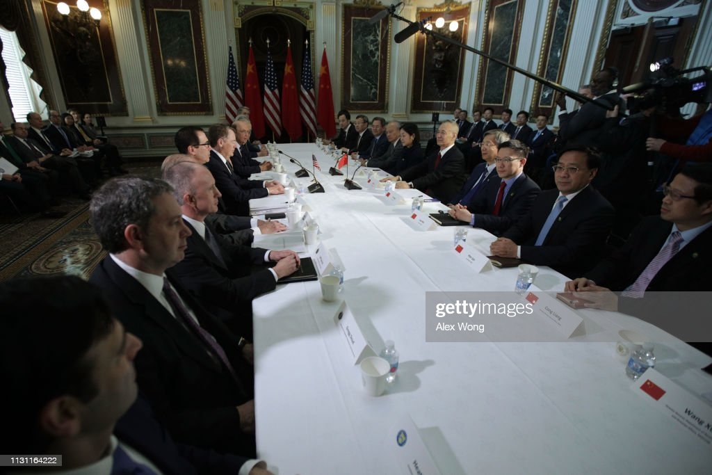 Delegations From United States And China Hold Trade Talks In Washington : News Photo
