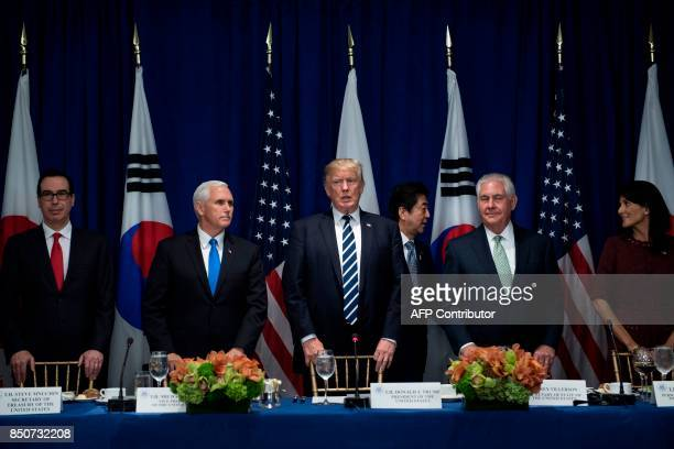 US Secretary of the Treasury Steven Mnuchin US Vice President Mike Pence US President Donald Trump US Secretary of State Rex Tillerson and US...