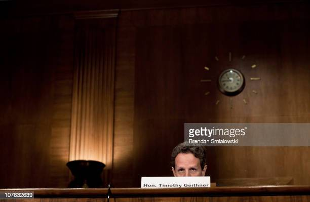 Secretary of the Treasury Timothy F Geithner speaks during a hearing of the Congressional Oversight Panel on Capitol Hill December 16 2010 in...