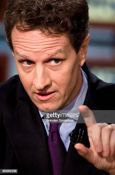 Secretary of the Treasury Timothy F Geithner speaks during a live taping of 'Meet the Press' at NBC studios March 29 2009 in Washington DC Treasury...