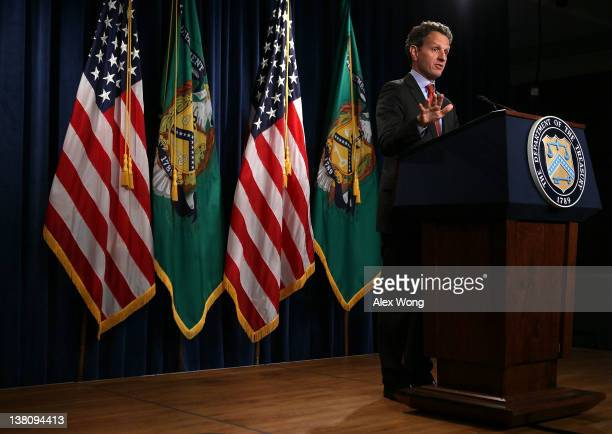 S Secretary of the Treasury Timothy Geithner delivers remarks on the state of financial reform to the media February 2 2012 at the Treasury...