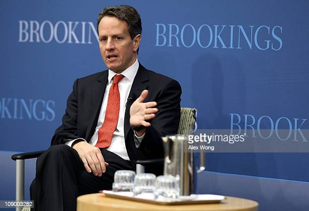 S Secretary of the Treasury Timothy Geithner speaks during a discussion at the Brookings Institution February 11 2011 in Washington DC The Secretary...