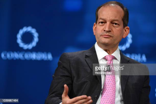 Secretary of the US Department of Labor Hon Alexander Acosta speaks onstage during the 2018 Concordia Annual Summit Day 2 at Grand Hyatt New York on...