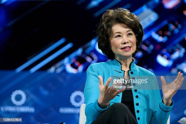 Secretary of the US Department of Transportation Hon Elaine L Chao speaks onstage during the 2018 Concordia Annual Summit Day 1 at Grand Hyatt New...