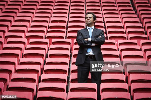 Secretary of Tourism of Brasilia Jaime Recena poses for a picture inside Brasilia Mane Garrincha stadium on February 1 2018 The Mane Garrincha...