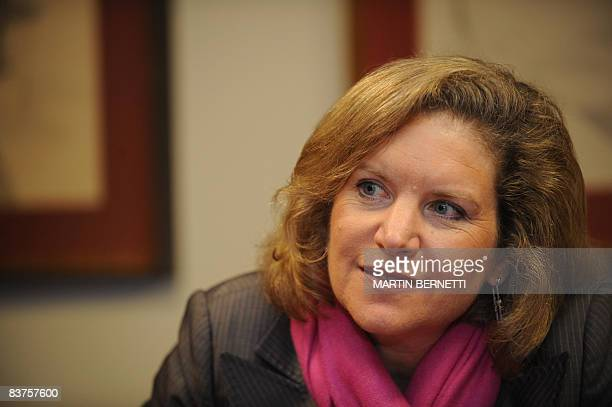 US Secretary of Trade Susan Schwab listens to a question during a press conference on November 19 2008 in Lima in the sidelines of the AsiaPacific...