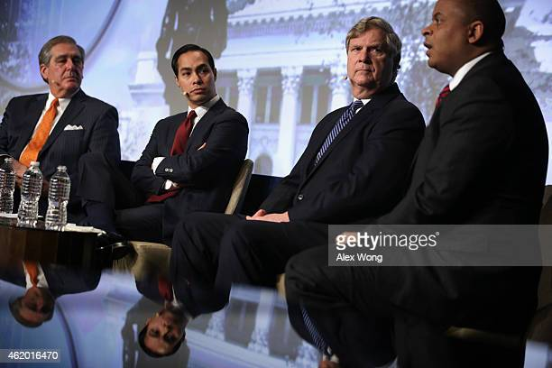 US Secretary of Transportation Anthony Foxx speaks as Secretary of Agriculture Tom Vilsack Secretary of Housing and Urban Development Julian Castro...