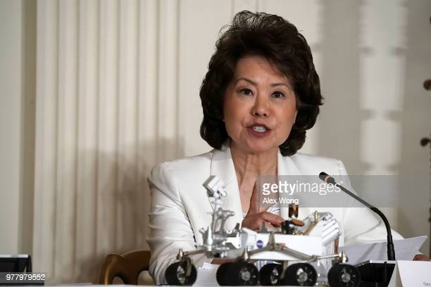 S Secretary of Transportation Elaine Chao speaks during a meeting of the National Space Council at the East Room of the White House June 18 2018 in...