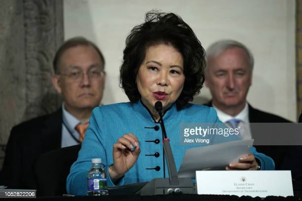 S Secretary of Transportation Elaine Chao speaks during the fourth meeting of the National Space Council at National Defense University at Fort...